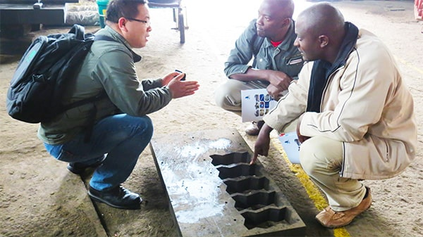 customer visit to concrete block machine factory